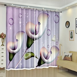 Dewdrops On Callas 3D Creative Flower Curtain Blackout