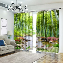Bamboo Between Stream Of River 3D Curtain and Drapes
