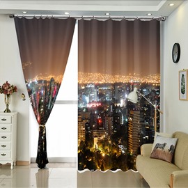 Ocean of Neon City In The Night Modern Style Curtain