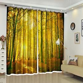 Golden Leaves In Forest Orange Autumn Window Curtains