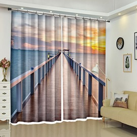 Wooden Bridge To The Sea In The Sunset Glow Scenery 3D Curtain