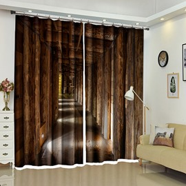 Wooden Tunnel Scenery Curtain Vintage Style Blackout 2 Pieces