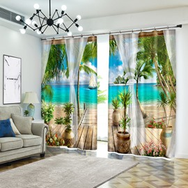 Tropical Beach 3D Curtains Drapes,Beach with Palm Trees