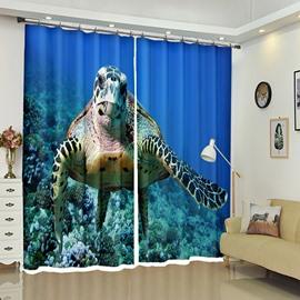 Vivid Turtle Underwater Seawater with Printed Curtain