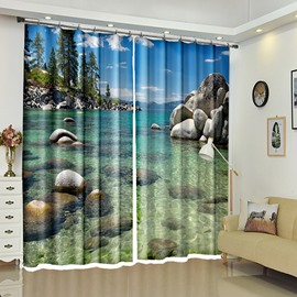 Crystal Sea Whiter Stones Polyester Scenery Curtain