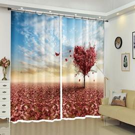 Heart Shape Maple Tree Red Heart Scenery Curtain Blackout