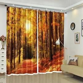 Straight Road In Red Forest Landscape Polyester Window Curtains