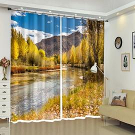 Autumn Scenery In Village Mountain River Courtyard 3D Curtain