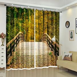 Wooden Bridge Into Deep Forest Beautiful Scenery 3D Bedroom Curtain