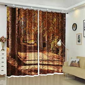 Gravel Road Between Trees Red Forest Country Road Polyester Window Curtain