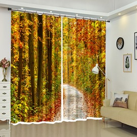 Maple Aside Country Road Autumn Landscape Window Curtains