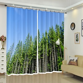 Lush Trees In Pure Blue Sky Window Drapes Landscape Curtain
