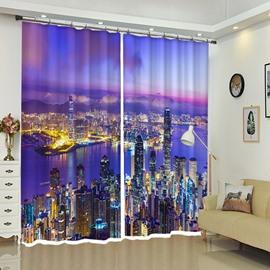 Hong Kong Night City View City Neon Curtain 2 Drapes