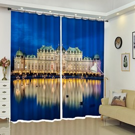 Shining Palace In The Night Decorative Drapes Curtain