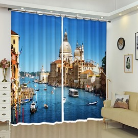 Watery City White Architectures Blue Seawater Polyester Curtain Drapes