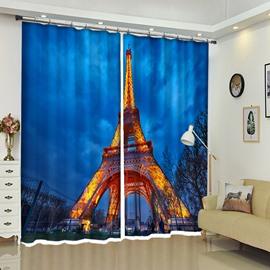 Eiffel Tower In The Dark Blue Night 3D Curtain Blackout