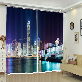 Night View of The City Architecture By The Sea Curtain