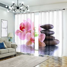 Flower And Stacked Pebbles After Rain 3D Curtain Drapes