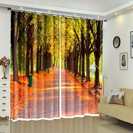 Tree-lined Path With Leaves Scenery Strolling Road 3D Curtain