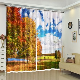 Trees Under White Clouds Pleasant Countryside View Polyester Curtain