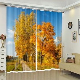 Yellow Tress Along the Country Road Polyester Double Pleated Curtain