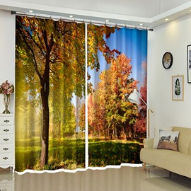 Classic Landscape Forest Scenery Decorative Polyester Curtain