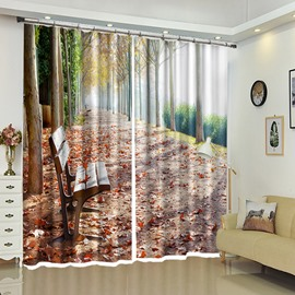 Bench on the Red Tree-lined Path 3D Curtain Natural Scenery