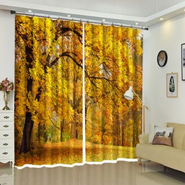 Yellow Leaves On the Bending Branch 3D View Polyester Curtain