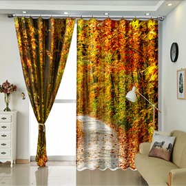 Lush Trees And Red Leaves Autumn Scenery Curtain for Living Room