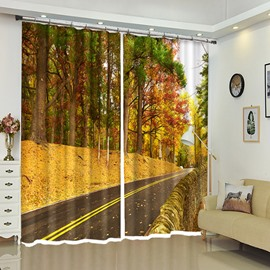 Golden Leaves Along the Road Orange Autumn Window Curtains
