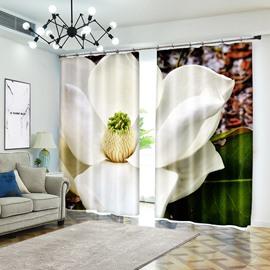 Clear White Lotus Full Screen 3D Curtain Flower Blackout