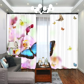 A Butterfly Rests on Flower 3D Scenery Curtain Blackout