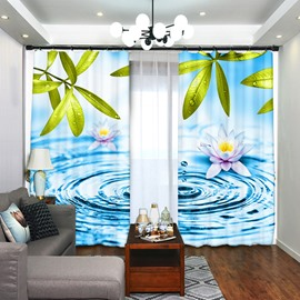 Lotus on the Water Flower Pattern Blackout Curtain for Bedroom
