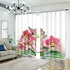Red Butterfly Rests on Flower Natural View Curtain for Living Room