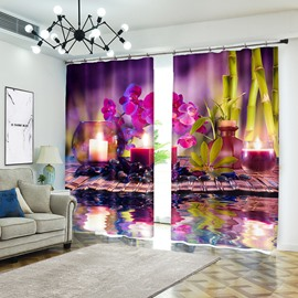 Flower and Candle on Water Calm Atmosphere Curtain