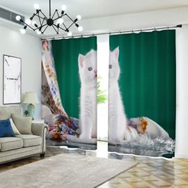 White Kitty in Green Background Curtain Cat Blackout