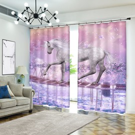 White Unicorn Crossing Single-log Bridge Pink Blackout Curtain 3D