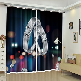 Shining Silver Ring Romantic Night City Background Curtain for Room
