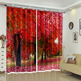 Red Maple Fallen Leave-made Carpet Curtain for Your Room