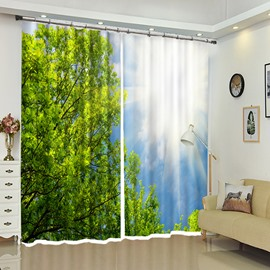 Sunshine Above Tress Scenery Blackout Decoration Polyester Curtain