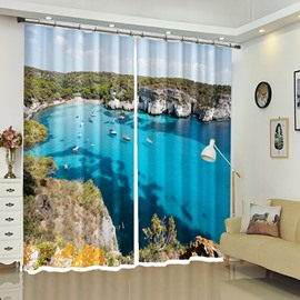 White Boats on Crystal Sea Scenery Decorative Curtain for Bathroom