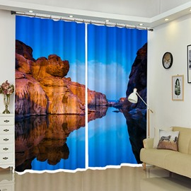 Huge Rock Connected Blue Sky and Water Scenery Curtain