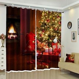 Gifts Under Christmas Tree Holiday Theme Red Curtain for you