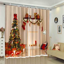 Christmas Tree in Corner 3D Color Printed Drapes for Holiday
