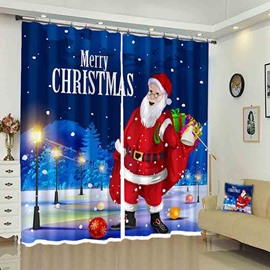 Santa Claus Merry Christmas Letter Holiday Decorative Curtain
