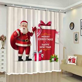 Santa and His Gifts Bag Merry Christmas Holiday Decorative Curtain