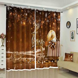 Golden Reindeer Christmas Gift Pattern 3D Curtain for Holiday