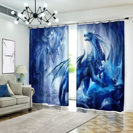 3D Dragon and Elves Cartoon Blue Curtain Bathroom Blackout