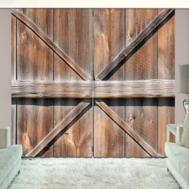 Old Wooden Barn Door of Farmhouse Rural Life Vivid Curtain