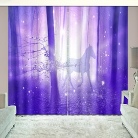 Shining Purple Horse in Magical Wood Vivid Printed Curtain